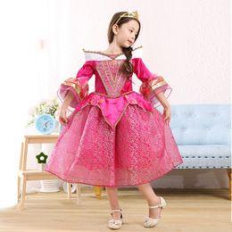 Wholesale DHL Sleeping Beauty Belle Princess Dresses rapunzel dress Party Pageant Ball Gown Long Pleated Cosplay Dress Aurora Sophia Aurora Gauze