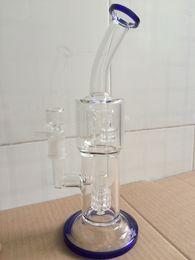 Aparejo de jaula en Línea-2017 de alta calidad de vidrio grueso Bongs Doube Tiny Cage Filtros de vidrio de tubería de agua con Honeycomb Percolator agua Bong para tabaco de vidrio Oil Rig
