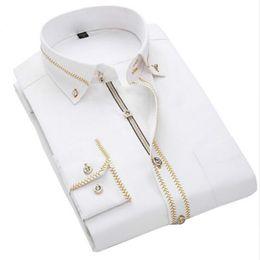 Wholesale Luxury Men Shirts Long Sleeve Mens Dress Shirts Cotton White Black Shirt Men Tuxedo Shirt Plus Size Slim Fit Chemise Homme