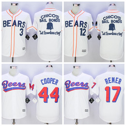 Wholesale Men s stitched The BASEketball Beers Movie Doug Remer Joe COOP Cooper Button Down Jersey Bad news White Button Baseball Jerseys