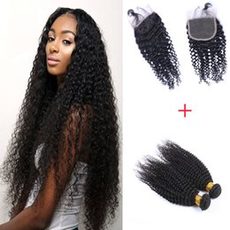 Curly Hair Weaves Brazilian Hair Bundles Weft Cheap Virgin Human Hair Extensions 2pcs 200g with 4*4 Top Lace Closure Factory Price