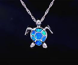 Wholesale & Retail Fashion Jewelry Fine Blue Fire Opal Sea Turtle Stone Sliver Pendants For Women PJ17082712