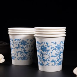 Wholesale Blue and white porcelain thick paper cups disposable paper cup commercial eco friendly thickening cups ml