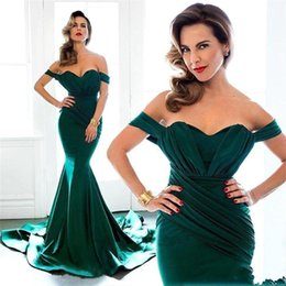 2017 Dark Green Mermaid Evening Dresses Off Shoulder Pleats Court Train Prom Dresses Formal Evening Party Gowns Custom Made Cheap