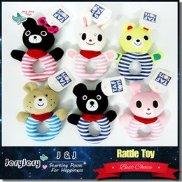 Wholesale Kids Baby Cute Soft Plush Animal Rattles Hand Bells Ring Educational Rabbit Bear Appease Toys Gifts for Newborn Months