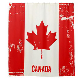 Wholesale Canada Flag Shower Curtain Maple Leaf Design Bathroom Curtain Waterproof Mildewproof Polyester Fabric Bath Curtain