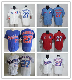 Montreal Expos Jersey 27 Vladimir Guerrero Jersey White Pinstrips Bule Cool Stitched Red Pullover Throwback Baseball Jersey Embroidery Logo
