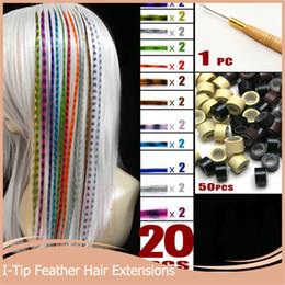 Plumes synthétiques gros en Ligne-Gros-20pcs / lot + 50 perles + 1 pc aiguilles accrochées 16''40cm longs cheveux grizzly extensions multicolore plume cheveux synthétiques