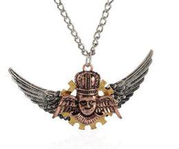 Epack free 3pcs 9Designs 56+4.8cm Vintage Alloy Steampunk Inspire Owl Pirate key Anchor Pendant necklace