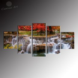 No Framed 5 Pieces Canvas Art Digital Painting of Landscape Waterfall Giclee Printing on Canvas for Home Decoration