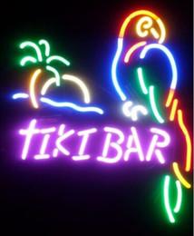 Tiki Bar Parrot Real Glass Neon Light Sign Beer Bar