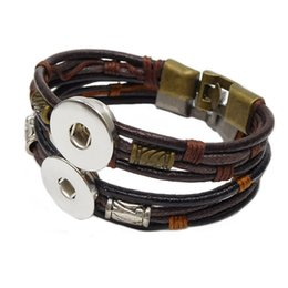 Wholesale antique wax leather noosa chunk bracelets brown black bronze buckle snap button wide bracelets