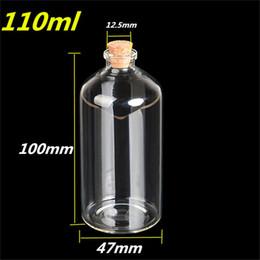 Grandes bouteilles liège en Ligne-110ml Gran Transparent Glass Cork Bouteilles Flacons Jars Empty Storage Wishing Bottles Decorative Gift Diy 47 * 100 * 12.5mm 12pcs / lot