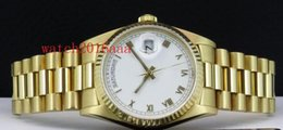 Wholesale Original box papers Hot Selling mm kt Gold President White Roman SANT BLANC Automatic High Quality Men s Watch