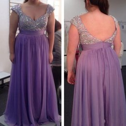 Luxury Plus Size Prom Dresses 2017 Light Purple Beaded Chiffon Cap Sleeve Girls Pageant Gowns Formal Special Occasion Evening Dress