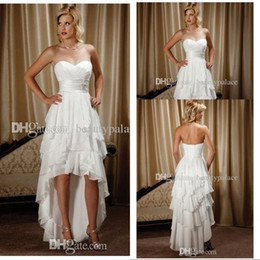 New Arrival Short Front Long Back Sweetheart Chiffon High Low Country Western Wedding Dresses Vintage Style Bridal Gowns