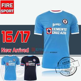 Wholesale 2016 Mexico Club Cruz Azul home Blue White Soccer Jerseys Best Thailand Quality Blue cross GIMENEZ CROSAS ROJAS Football Shirts