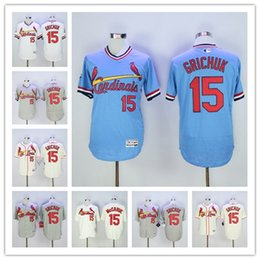 2016 St. Louis Cardinals #15 Randal Grichuk MLB Baseball Jerseys White Blue Cream Gray Pull Down Top Quality For Sale