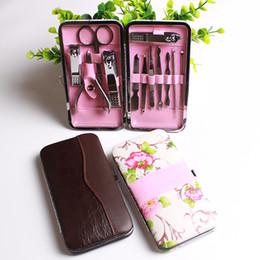 12Pcs In 1 Portable Manicure Sets Stone Pattern Pedicure kit Scissor Tweezer Knife Ear Pick Utility Nail Clipper Kit Nail Art Care Tools