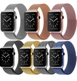 Compra Online Bandas de acero inoxidable enlaces-Milanesa Loop Watch Strap Hombres Link Pulsera De Acero Inoxidable Tejido Negro Magnetic Watch banda de la caja para la banda de reloj de Apple 42mm 38mm iWatch