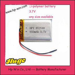 wholesale 650mAh 3.7V Lithium Polymer LiPo Rechargeable Battery cells li ion power For Mp3 Mp4 PAD DVD DIY E-book bluetooth Camera 852540