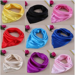 Wholesale Silk Charm Scarves - Candy Color Solid Red Yellow New Women Silk Scarf Charming Female Long Pashmina Shawl Scrafs Square Scarf