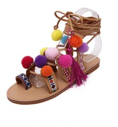 Wholesale Plus Size Ethnic Bohemian Summer Woman Pompon Sandals Gladiator Roman Strappy Knee High Boots Embroidered Tassel Shoes