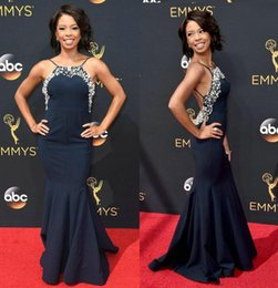 Wholesale Sexy Backless Emmy Awards Celebrity Red Carpet Dresses Angel Parker Beaded Spaghetti Straps Mermaid Prom Formal Evening Gowns