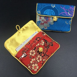 Chinese knot Silk Brocade Small Pouches Bag with Zip Jewelry Pouch Coin Purse Gift Packaging Credit Card Holder Case Storage Bag 2pcs lot