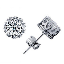 1CT Austrian Crystal 925 sterling Silver plating 30% White GOLD Crown Wedding Stud Earring Swarovski Elements Engagement Jewelry 20 Pairs