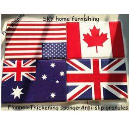 Wholesale American flag carpet US British flag mat Canada Germany Australia France England fleece cushion door mat non slip
