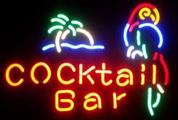 Cocktail Bar Parrot Real Glass Neon Light Sign Beer Bar
