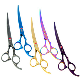 2017 outil de coupe courbe 7.0Inch Purple Dragon Pet Scissors Toilettage pour chien Cutting Scissors Up Curved Head Pet Grooming Scissors JP440C Puppy Trimmer Tool, LZS0598 abordable outil de coupe courbe