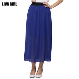 Wholesale 2017 New Fashion Summer Women Plus size Loose Chiffon Long Skirts Blue Red Woman Casual Skirt