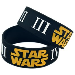 Wholesale Shipping New Arrival 50PCS Lot 1'' Wide Band Star Wars 1-6 Section Ink-Filled Colour Silicone Wristband