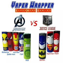 Wholesale Superhero Luxury Series Super man Batman Captain America Battery PVC mm Skin Sleeve Shrinkable Tubing Wrap Heat Shrink Re wrapping