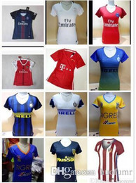 Wholesale DHL Mixed buy Women Arsenals Tigers Atleticos Madrids Inters Milan Jerseys Real Madrid Shirt America club Jersey