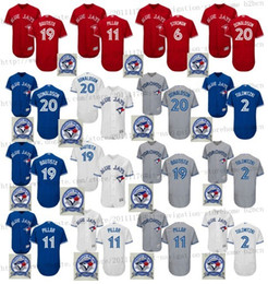 Wholesale 2017 th season patch Men s Toronto Blue Jays Tulowitzki Josh Donaldson Bautista Pillar baseball jerseys flexbase Stitched