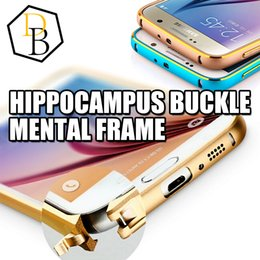 Wholesale Curved Black Buckles - For iphone 7 case Hippocampal Buckle Curved Aluminum Metal Bumper with Button Case For Iphone 5 5S 4 4S Samsung s6 s6edge
