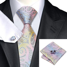Argentina SN-542 Pink Cornflowerblue Darkgray Yellow Novedad Tie Hanky ​​Cufflinks Sets Corbatas de seda de los hombres para los hombres Formal Wedding Party Groom pink formal tie for sale Suministro