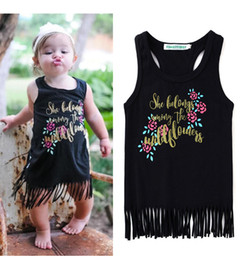 2017 ins news girl summer dress baby girl letter print flower tassel dress kids vest cotton dress