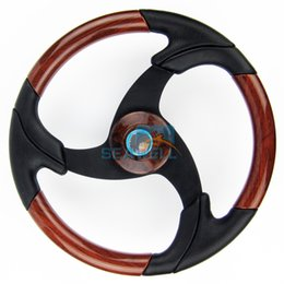 Wholesale Marine Boat Steering Wheel Burl Wood Inserts Aluminum Spoke Black Grip