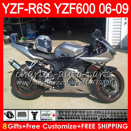 8Gifts 23Color Body For YAMAHA YZF600 YZFR6S 06 07 08 09 57HM4 Silver black YZF R6 S YZF 600 YZF-R6S YZF R6S 2006 2007 2008 2009 Fairing kit
