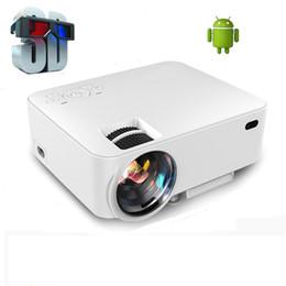 Quad lcd à vendre-Vente en gros-WZATCO Quad core Android 4.4 Support Miracast pour iPhone HD 1500Lumens Led Lcd home cinéma Projecteur 3D Beamer RJ45 USB SD
