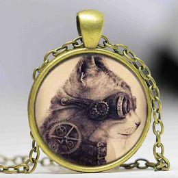 Compra Online Mujer del reloj del collar-Reloj mecánico de la película del gato del gato hecho a mano del collar de la plata pendiente del regalo de la joyería del steampunk mujeres alice de la cadena en el juguete del país de las maravillas