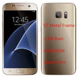 Gb pouces à vendre-Smartphones débloqués S7 1: 1 clone 1 Go de RAM 8 Go ROM 3G Réseau 5.1 pouces construit en GPS A-GPS S7 Goophone DHL gratuit