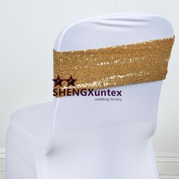 New Design Gold Color Lycra Spandex Chair Band Back With Sequin Fabric