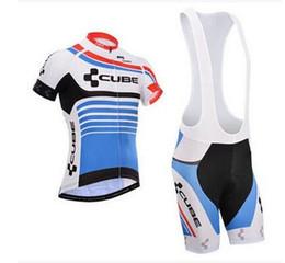Descuento baberos ciclismo cubo Hombres ciclismo Jersey conjuntos 2016 equipo CUBE ciclismo ropa maillot ciclismo Manga corta Ropa ciclismo hombre MTB bici jersey + BIB Pantalones cortos