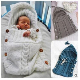 Wholesale Sleeping Bag Baby Kids Crochet Knitting Newborn Blanket Pure color Swaddle Sleep Sack Stroller Wrap Baby warm Clothes DHL