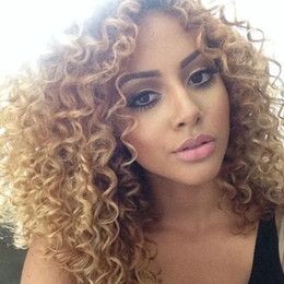 27 bouclés ombre en Ligne-Kinky Curly Wigs Ombre Brazilian Lace Front Perruques 1b 27 Full Lace Human Hair Wigs For Black Women